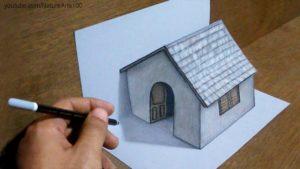 Trick Art Drawing 3D Tiny House na papíře