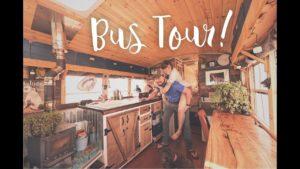 Prohlídka autobusové přestávky Tiny House | Domů mimo školní síťový školní autobus