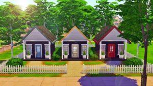 Rainbow Tiny House Trio - 1x1 Dlaždice Koupelna - Sims 4 Speed Build