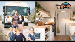 Rodina 6 a jejich krásný malý domov ~ DIY školní autobusová konverze