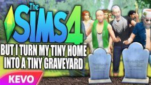 Sims 4, ale z malého domu jsem udělal malý hřbitov