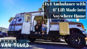 "Van Tour: Off Grid Anywhere Tiny Home - 4x4 Ambulance 6 ""Lift DIY"