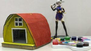 DIY maluje klenutý kabina Drobeček z kartonu