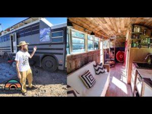 DIY zvedl střechu školní autobusová konverze - mimo Grid Tiny Home