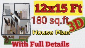 Malé plány domu 12x15 Ghar Ka Naksha   Domácí design 3D By House Design (Urdu & Hindi)