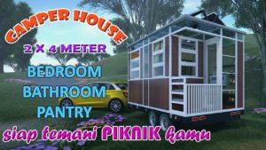 Malý dům pro zábavu Camper 2,2 x 4 metry. TV Pokoj Ložnice Koupelna Spíž