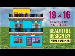 19by16 plán domu podle plánu domácího domu, design malého domu ve 3d