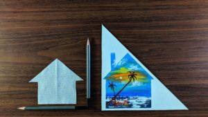 Mořská pláž Západ slunce scenérie pomocí hedvábného papíru na malé domácí plátno Akrylová abstraktní malba