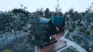 Moderní malý dům se samostatným kancelářským plánem | Návrh domu pro podnikatele Filmový lumion