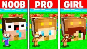 NOOB vs PRO vs GIRL FRIEND MINECRAFT TINY HOUSE BATTLE! (Build Challenge)
