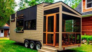 Nejbláznivější malý dům na kolech na prodej s promítáním v verandě Malý dům velké bydlení