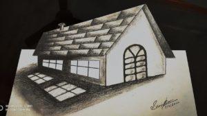 Velmi snadné | Trik umění kreslení 3d malý dům na papíře | jak kreslit 3d umění na papíře