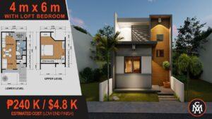 DĚTSKÝ DESIGN 4 x 6 M s ložnicí (24 m2) | Design domu č. 5