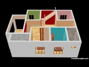 Design malého domu o rozměrech 9x13 metrů pro 13 ložnic, 2 ložnice, americkou kuchyni s parkováním CAR 2020