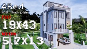 Interiér Malý dům Design 5,7x13 metrů 19x43 metrů plné plány