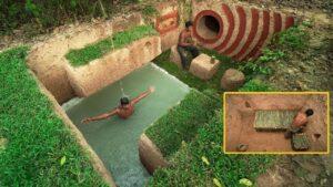 Krásný bazén v lesích s malým domovem pod zemí 2020