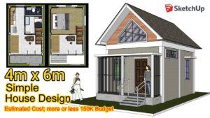 Malý dům | 4m x 6m | Loftový designový nápad Animace SketchUp