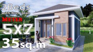 Malý dům Design 5x7 metrů 35sq m Hip Roof