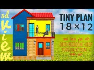 Malý domácí plán 18 x 12 s otevřenou ložnicí podle plánu domácího domu   malý dům hoblování nápady ve 3d