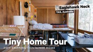 Prohlídka kontejneru Home Tour! Vkročte do domu Nicka Jaffeho o 20 stopách v krku Eaglehawk v Tasmánii