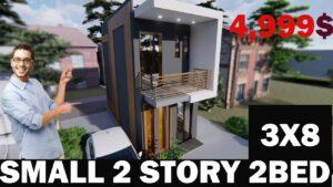 (3x8) M Malý dům - malý dvoupatrový dům - nízký rozpočet - lodní kontejnerový dům