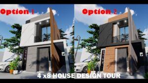 (4X8) M- HOUSE DESIGN - Malý dům, malý dvoupatrový dům, moderní dům, půdorys,