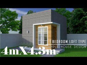 4mx4,3m (17,2m2) Jednoduchý design malého domu s 1 ložnicí typu Loft