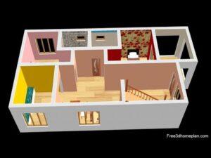 Design malého domu o rozměrech 7x14 metrů pro 15 lůžek 2 ložnice americké kuchyně s parkováním CAR 2020