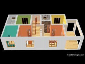Design malého domu o rozměrech 7x16 metrů pro 18 pokojů 2 americké kuchyně s parkováním CAR 2020