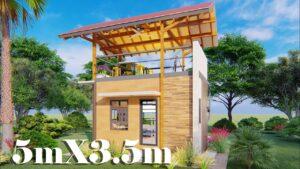 Design malého domu s plošinou 5x3,5 (35 SQM)