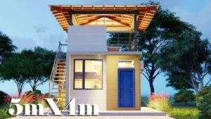 Design malého domu s plošinou 5x4 (36 SQM)