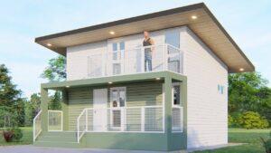 Malý dům Design 6x6 metry (36 SQM / 387,5 SQFT) se 2 ložnicemi