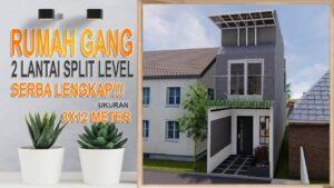 Tiny House Split Level 2 Floor on Land 3x12 Meters, Kompletní obsah pro domácí řešení v malé uličce